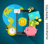 concept of crypto currency.... | Shutterstock .eps vector #784967551