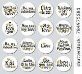 valentines day round stickers...   Shutterstock .eps vector #784975381