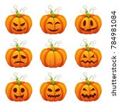 pumpkin with funny faces.... | Shutterstock . vector #784981084