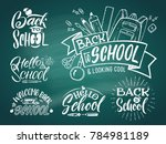 vintage emblem set for school.... | Shutterstock . vector #784981189