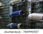 car exhaust on the wall... | Shutterstock . vector #784990507