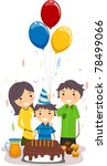 Illustration of a Boy Celebrating His Birthday with His Family - stock vector