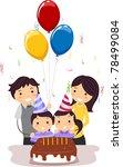 Illustration of Twins Celebrating Their Birthday - stock vector