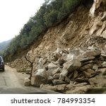 mountain landslide stone slopes ... | Shutterstock . vector #784993354