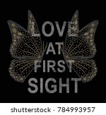 shiny butterfly with slogan  | Shutterstock . vector #784993957