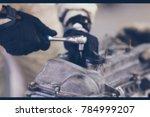 blurry of hands of an auto...   Shutterstock . vector #784999207