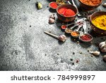 various herbs and spices with... | Shutterstock . vector #784999897