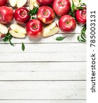 fresh red apples with leaves.... | Shutterstock . vector #785003131