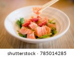japanese food   spicy salmon... | Shutterstock . vector #785014285