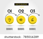 three yellow info options with... | Shutterstock .eps vector #785016289