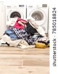 pile of dirty clothes in...   Shutterstock . vector #785018824