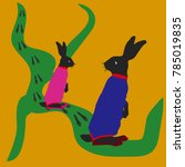hare and female hare  jumping