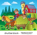 country scene with red barn 9   ... | Shutterstock .eps vector #78502207