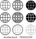 globe icon collection raster... | Shutterstock . vector #785022259