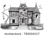 ghost house hand drawing... | Shutterstock .eps vector #785034217