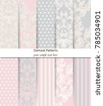 damask patterns set vector.... | Shutterstock .eps vector #785034901