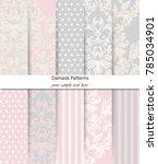 damask patterns set vector.... | Shutterstock .eps vector #785034901