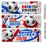 soccer ball banner set for... | Shutterstock .eps vector #785036311