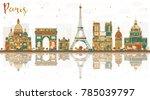 paris france city skyline with... | Shutterstock .eps vector #785039797