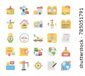 flat icons collection of... | Shutterstock .eps vector #785051791