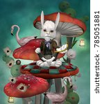 Stock photo wonderland series rabbit with clock sits on a mushroom in a fantasy scenery inspired by alice in 785051881