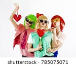 group of young people disguised ... | Shutterstock . vector #785075071