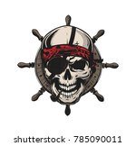 original pirate skull retro... | Shutterstock .eps vector #785090011