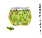 pickled cucumbers in a jar.... | Shutterstock . vector #785090401