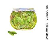 pickled cucumbers in a jar....   Shutterstock . vector #785090401