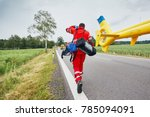 doctor with defibrillator and... | Shutterstock . vector #785094091