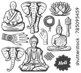 vintage buddhism religion... | Shutterstock .eps vector #785095459