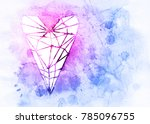 polygonal heart on colorful... | Shutterstock . vector #785096755