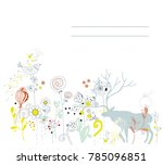 floral background with deer for ... | Shutterstock .eps vector #785096851