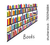 library with books rows... | Shutterstock .eps vector #785096884