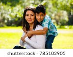 mother and son outdoor... | Shutterstock . vector #785102905