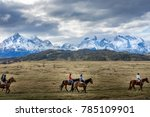 a group of people horse riding... | Shutterstock . vector #785109901