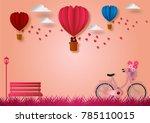paper art style of balloons...   Shutterstock .eps vector #785110015