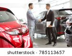 selective focus on a new car at ... | Shutterstock . vector #785113657