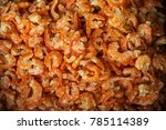 Small photo of dried shrimp closed up, Shrimp that are sun-dried and shrunk to a thumbnail size used in many Asian cuisines