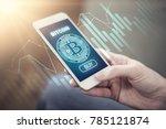 bitcoin symbol on mobile app... | Shutterstock . vector #785121874