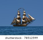 Sailing Ship  Under Full Sail ...