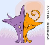 Stock photo friendship between cat and dog for vector version see image no 78512779