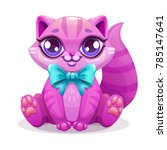 little cute cartoon kitten icon.... | Shutterstock .eps vector #785147641