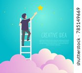 businessman on a ladder to pick ... | Shutterstock .eps vector #785149669