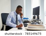 young black businessman using... | Shutterstock . vector #785149675