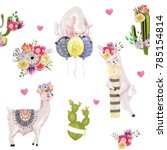 cute watercolor llamas  alpaca... | Shutterstock . vector #785154814