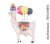 cute watercolor dreaming llama  ... | Shutterstock . vector #785154841