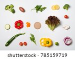 deconstructed salad ingredients ... | Shutterstock . vector #785159719