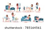 woman's daily routine at home... | Shutterstock .eps vector #785164561