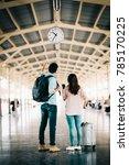 asian couple traveler checking... | Shutterstock . vector #785170225